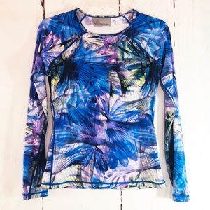 ATHLETA | Blue Prism Pattern Running / Workout Top